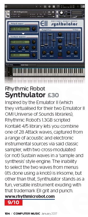 Computer Music magazine review of Synthulator