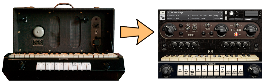 An example of how we sample vintage synthesisers and turn them into software virtual instruments. On the left, the original Jennings Univox; on the right, our Kontakt user interface for the same instrument