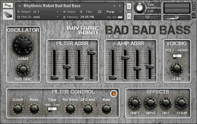 Bad Bad Bass front panel