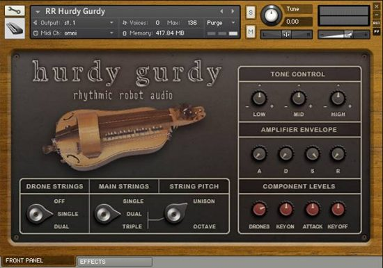 Front panel UI of our Kontakt hurdy-gurdy, showing the tone and string controls for drones and melody