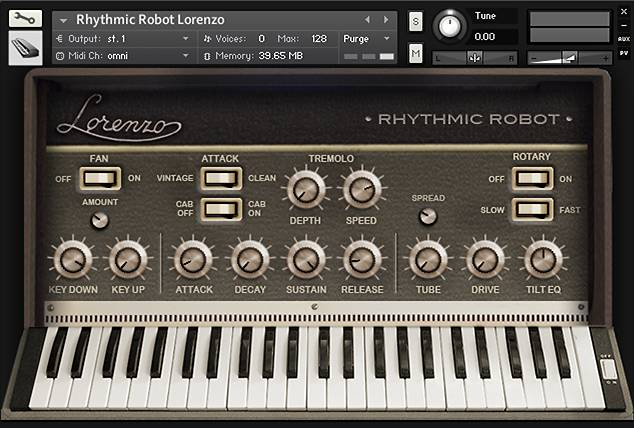 The front-panel Kontakt interface for Lorenzo, sampled from an Italian reed organ.