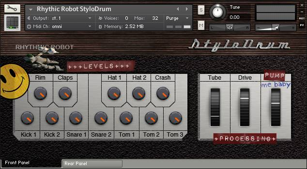 StyloDrum front panel