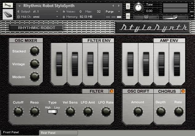StyloSynth front panel