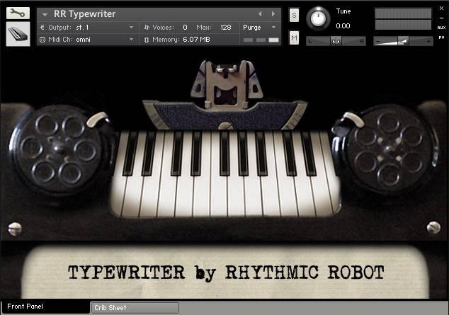 Typewriter front panel