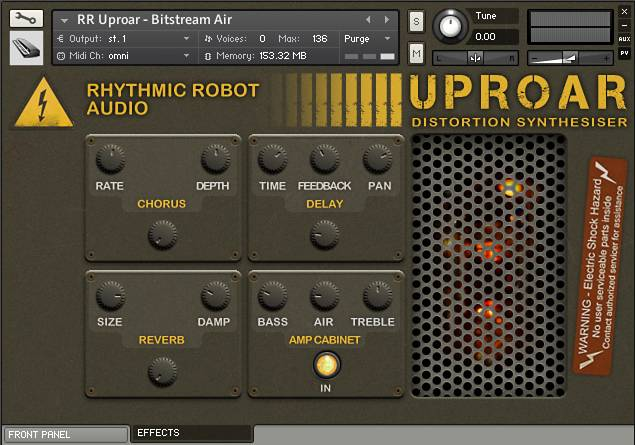 Rear panel of Uproar for Kontakt - a distortion-based Kontakt instrument