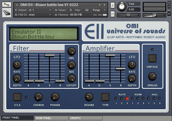 Kontakt user interface front panel for our virtual version of the Emu Emulator II