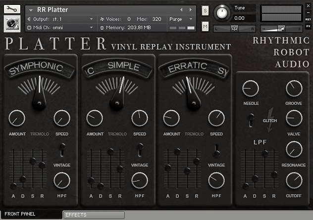 Platter Kontakt instrument front panel
