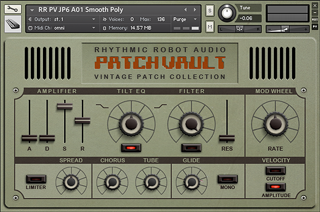 PatchVault Kontakt Instrument front panel