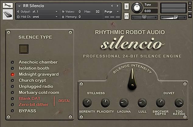 Silencio Kontakt instrument front panel