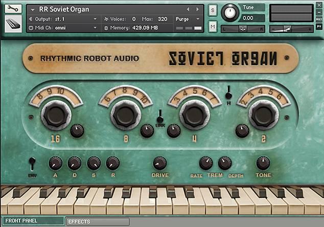 Soviet Organ Kontakt instrument front panel