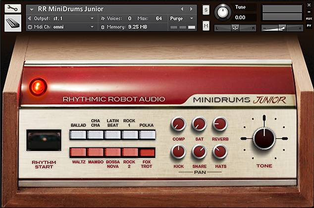 MiniDrums Junior Kontakt instrument panel