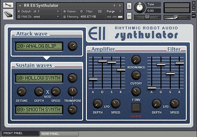 Synthulator Kontakt instrument front panel