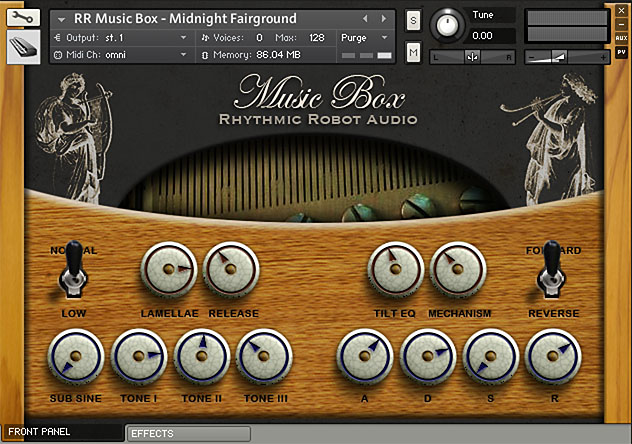 Music Box Kontakt instrument front