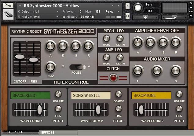 Synthesizer 2000 Kontakt instrument front panel