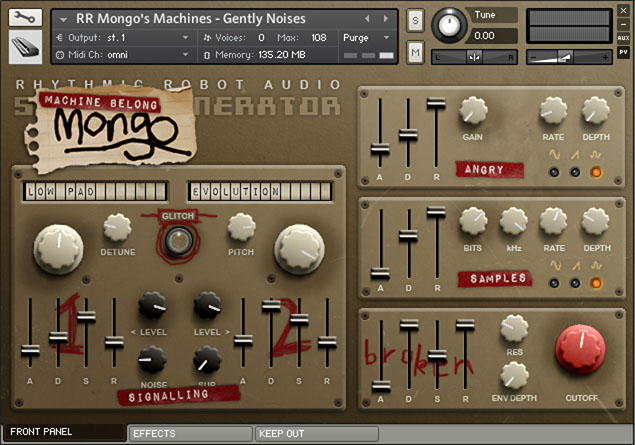 Mongo's Machines front panel
