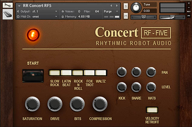 Concert RF5 drum machine for Kontakt