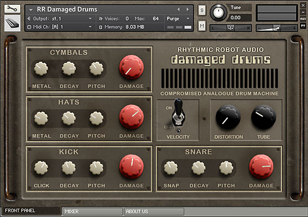 Damaged Drums Kontakt instrument front panel