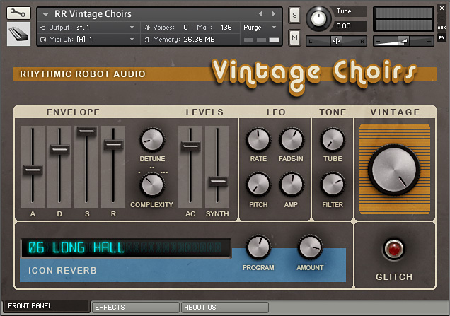 Vintage Choirs Kontakt Instrument front panel