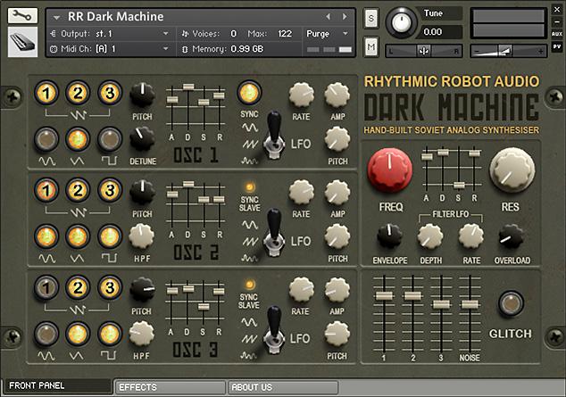 Dark Machine Kontakt instrument front panel
