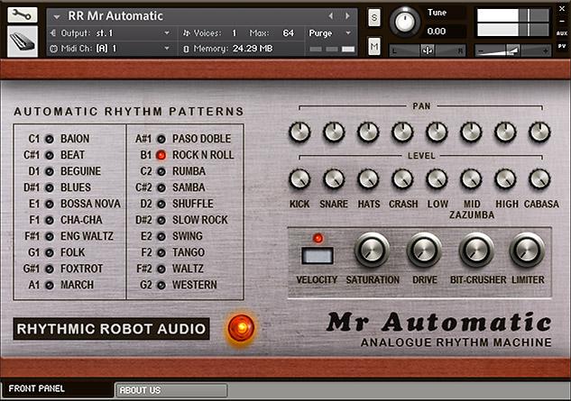 Mr Automatic Kontakt instrument front panel