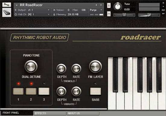 Crumar RoadRacer for Kontakt front panel interface